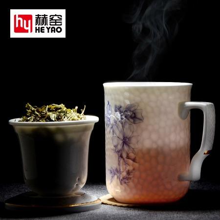 茶漏陶瓷水杯广告带盖花草骨瓷杯定制印logo