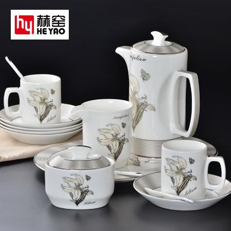 青花骨瓷套裝功夫茶具一壺四杯帶茶盤陶瓷促銷禮品定制logo