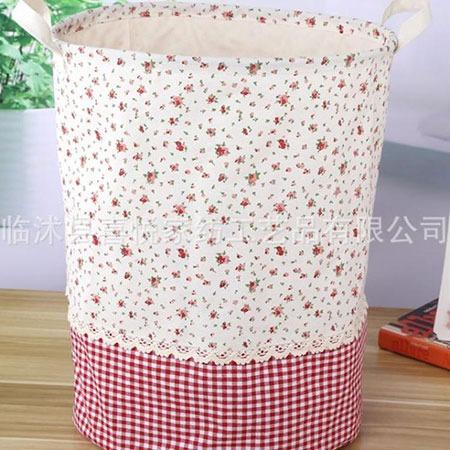 新款zakka收纳厂家专业生产批发束口玩具杂物拼接花边收纳桶