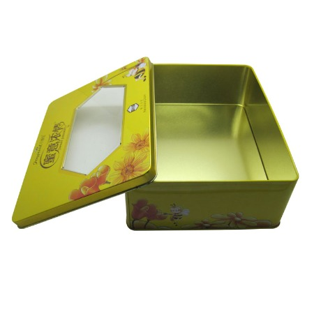 铁盒厂家定制 马口铁 食品包装铁盒 方形开窗铁盒
