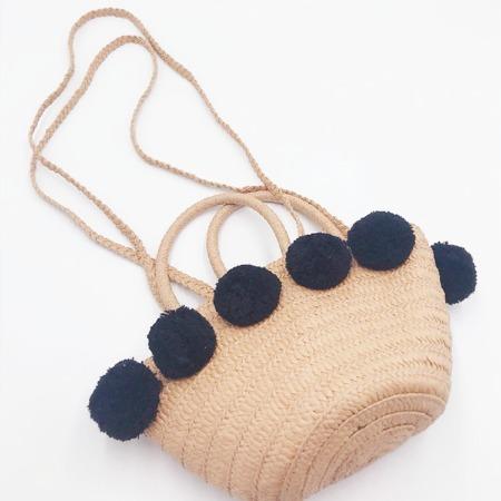 新款编制毛球草编包手提单肩女包森系简约时尚沙滩风编织包