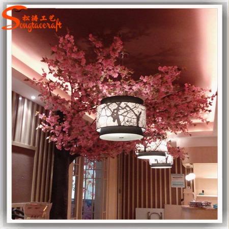 人造植物仿真树大型室内装饰酒店仿真樱花树桃花树价格 假树制作厂家