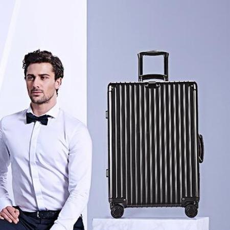 复古直角行李箱女铝框拉杆箱男万向轮婚嫁结婚箱登机20旅行箱