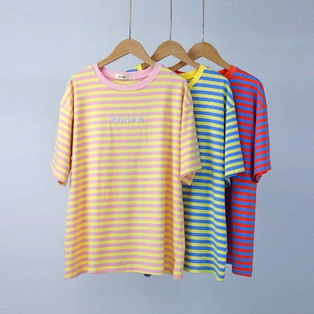 2019夏季新款韩版女装宽松上衣撞色条纹套头圆领休闲短袖T恤女