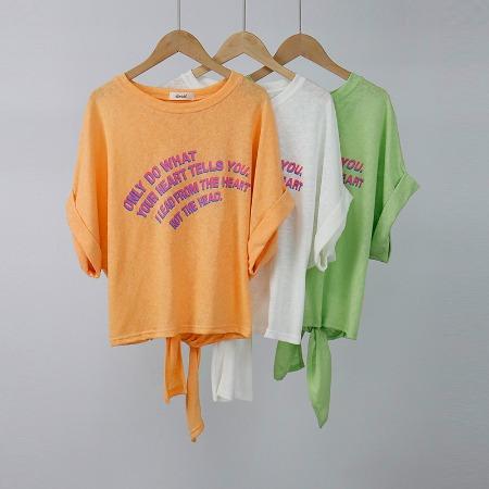 2019新款韩版女装短袖上衣宽松套头蝴蝶结露背气质通勤圆领T恤女