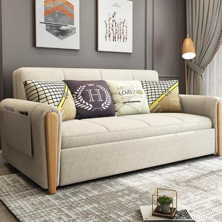 厂家直销_实木多功能沙发_坐卧两用储物沙发床