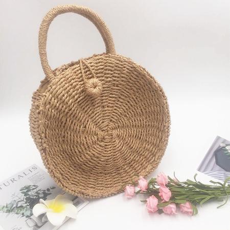 新款圆形耐用手工编织女包手提单肩斜跨草编包时尚休闲度假沙滩包
