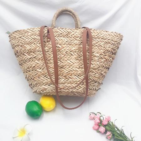 水草手钉草编包 时尚休闲手工编织包 度假手提沙滩包