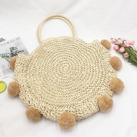 新品热卖高品质手工编织纸绳钩针球球包特别设计时尚沙滩草编包