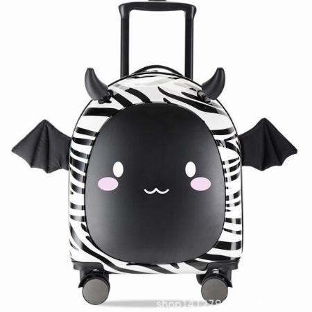 小恶魔斑马黑款儿童拉杆箱16寸便携儿童旅行箱万向轮搞怪创意行李箱男女童