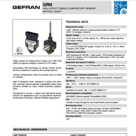 GEFRAN杰弗伦角度位移传感器GAN系列进口角度传感器电流输出