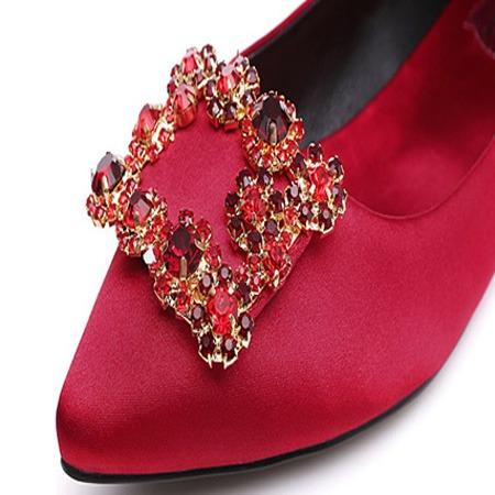 森豪厂家定制林心如同款婚鞋钻扣 女士单鞋高跟鞋水钻方扣 鞋配件