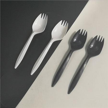 一次性勺子叉勺叉子塑料 磨砂多色水果蛋糕一体独立包装KF勺黑勺