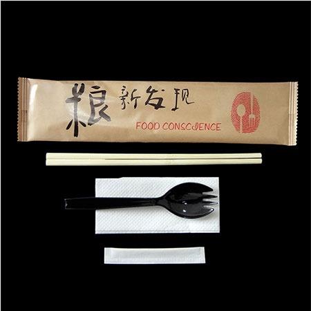 一次性外卖餐具包批发双生连体竹筷勺叉四件套快餐打包一次性餐具