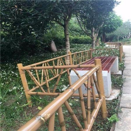 康博 不锈钢绿色仿竹护栏 花园仿竹护栏生产厂家