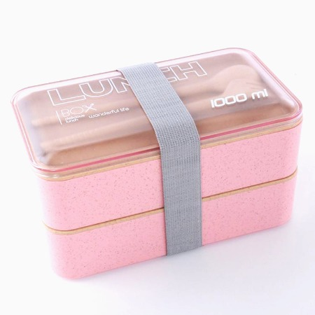 双层麦桔秆饭盒日式便当盒带叉勺环保餐盒微波炉方形便携午餐盒