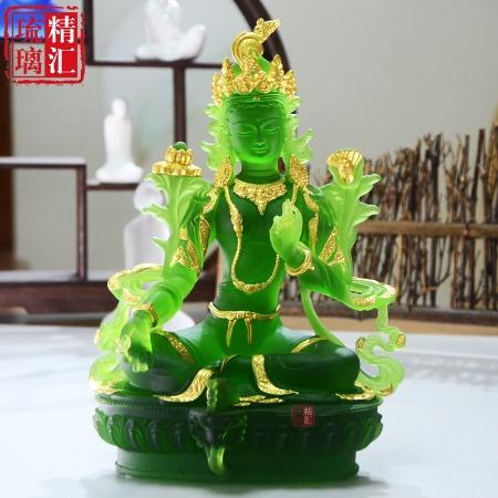 广州琉璃佛像工厂 琉璃绿度母佛像 贴金琉璃佛像工厂 广州琉璃工厂 琉璃寺庙佛像厂家