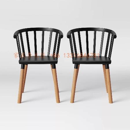 广东餐椅厂家定制酒店实木餐椅 西餐厅围椅扶手椅 中餐厅实木椅子批发供应商 公寓民宿精装房工程配套椅子