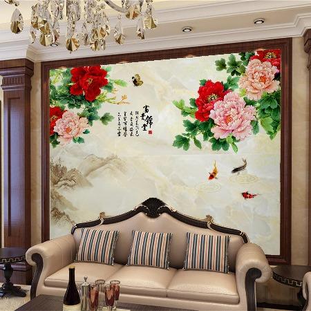 厂家供应 3D立体电视背景墙 中式 欧式 简约现代 竹木纤维墙板3D打印背景墙来图定制1