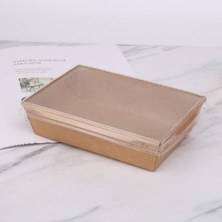 牛皮纸餐盒一次性牛皮打包防雾盖沙拉盒轻食寿司外卖盒 厂家定制