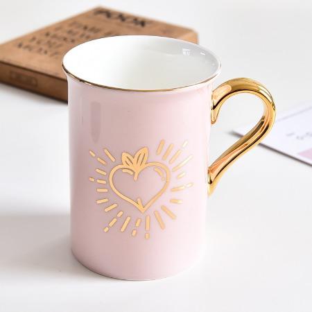 厂家直供骨瓷马克杯 陶瓷彩色金把手礼品水杯子定制logo