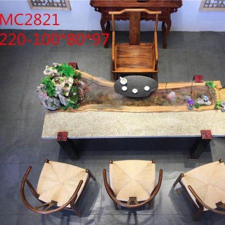 现代新中式实木流水泡茶桌椅组合茶几循环流水养鱼创意茶台