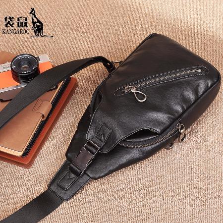 【袋鼠】胸包单肩斜挎包男士时尚商务款KMBD0619019