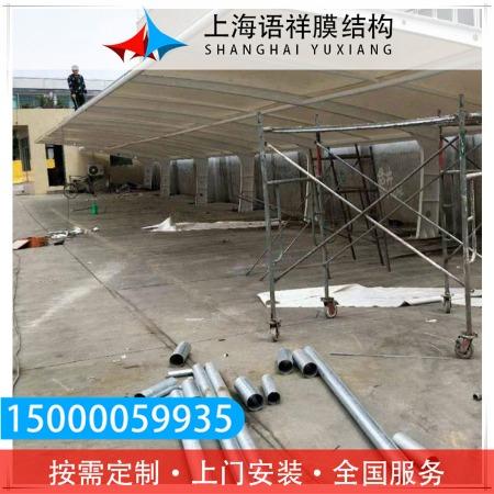 上海语祥厂家定做钢膜结构停车棚汽车公交车站雨棚户外景观遮阳车棚