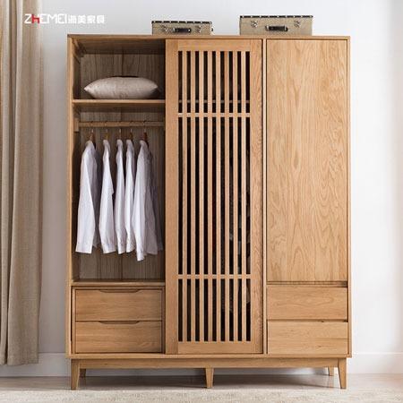 南京衣柜定制公司有哪些 北欧实木百叶门衣柜定制 日式原木4门大衣橱卧室收纳家具