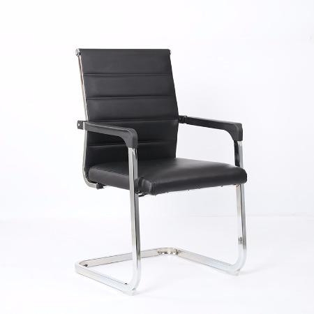 厂家直销高背黑皮椅子弓形时尚办公椅老板椅家用电脑培训椅批发