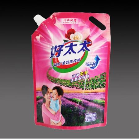 双诚直销现货2公斤500克洗衣液袋子 皂液包装袋 吸嘴袋 洗衣液自立风琴带吸嘴口包装袋透明彩印塑料自