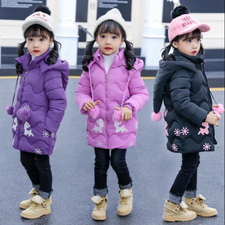 厂家直销_新款冬装女童棉衣加厚中长款儿童棉服宝宝棉袄外套