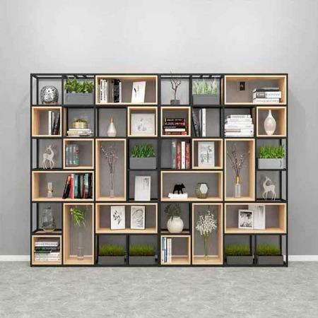 现代简约落地 客厅窄书架 一字板式置物架 铁艺花架现货批发