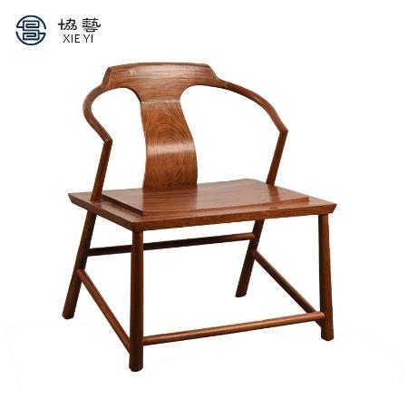 协艺家具新中式椅子椅子现代简约餐椅靠背椅实木家用酒店餐厅带扶手办公中式凳子榆木