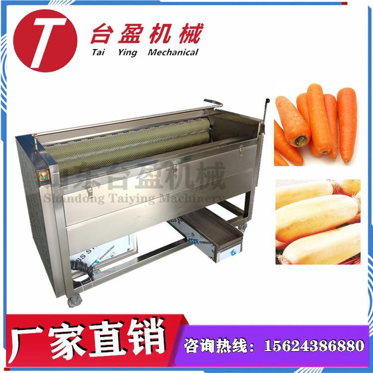 台盈TYW-907型  胡萝卜清洗机 胡萝卜清洗去皮机 清洗去皮二合一多用途毛刷清洗去皮机
