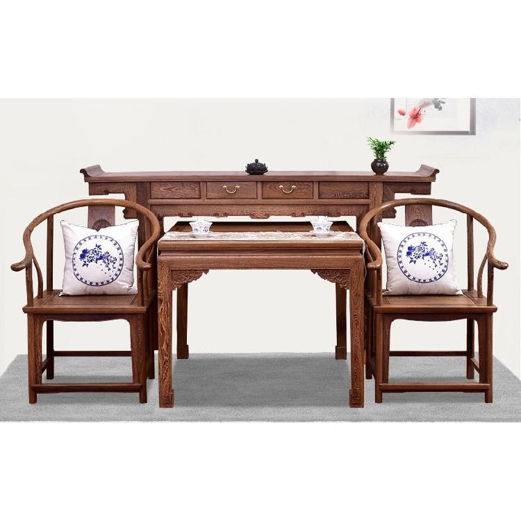 红木家具鸡翅木中堂四件套供桌实木八仙桌新中式条案客厅供台神台