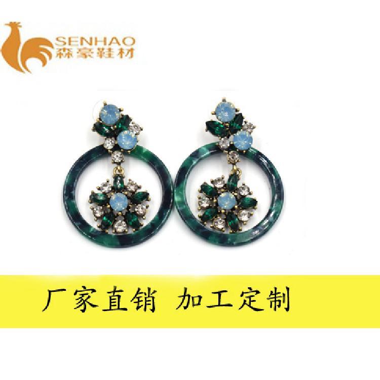 厂家热销时尚新款金属耳环 圆形树脂金属吊坠耳饰 森豪厂家定制各种精美金属耳环