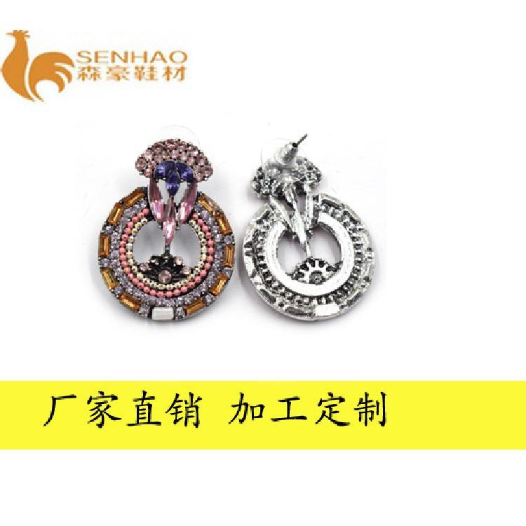 厂家新款气质优雅时尚耳环 个性圆圈镶钻石耳饰 森豪厂家定制甜美性感耳环