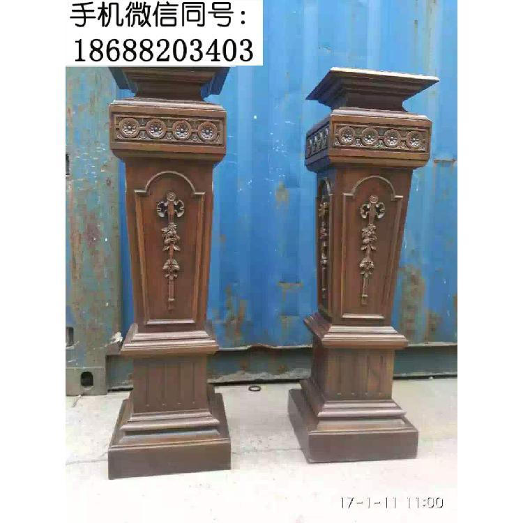 老式花架罗马柱海派家具摆件木雕花罗马柱一对摆件