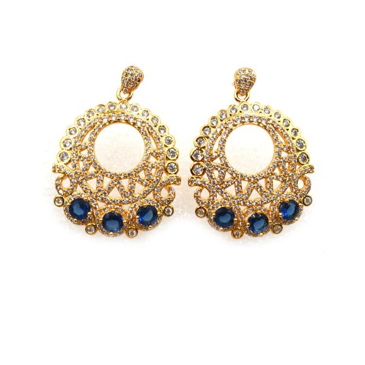 欧美热销新款耳钉 金色镶锆石镂空个性耳饰 森豪厂家定制个性金色热销耳钉