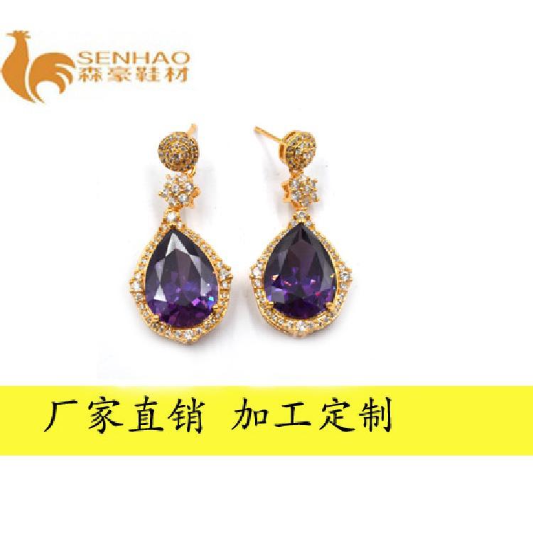 新款韓版熱銷耳環 紫色鋯石元素氣質優雅時尚耳釘 森豪廠家定制個性時尚精美耳環