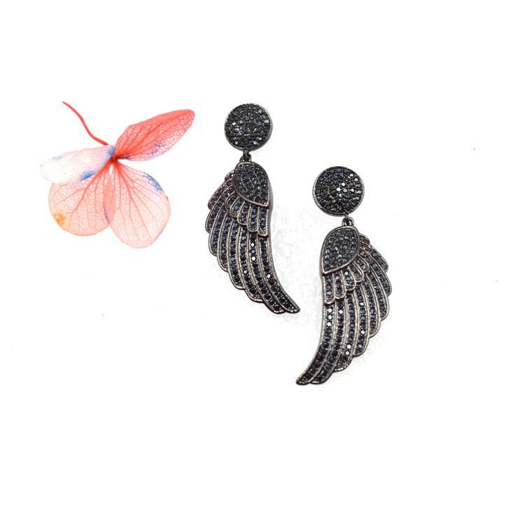 厂家直销气质优雅时尚耳饰  可爱黑色翅膀镶钻石耳环 森豪厂家定制新款时尚气质耳饰
