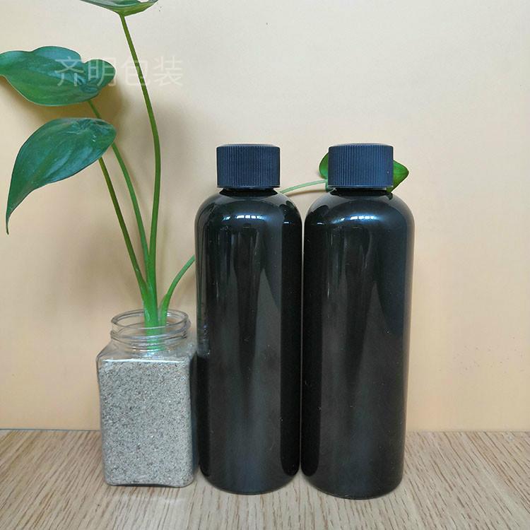 齐明包装 厂家现货供应黑色PET塑料瓶 24口径200毫升 PET塑料瓶黑色