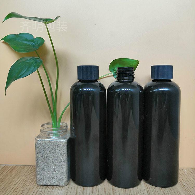齐明包装 现货供应PET塑料瓶黑色 厂家现货定制黑色PET塑料瓶价格 24口径200毫升 量大从优