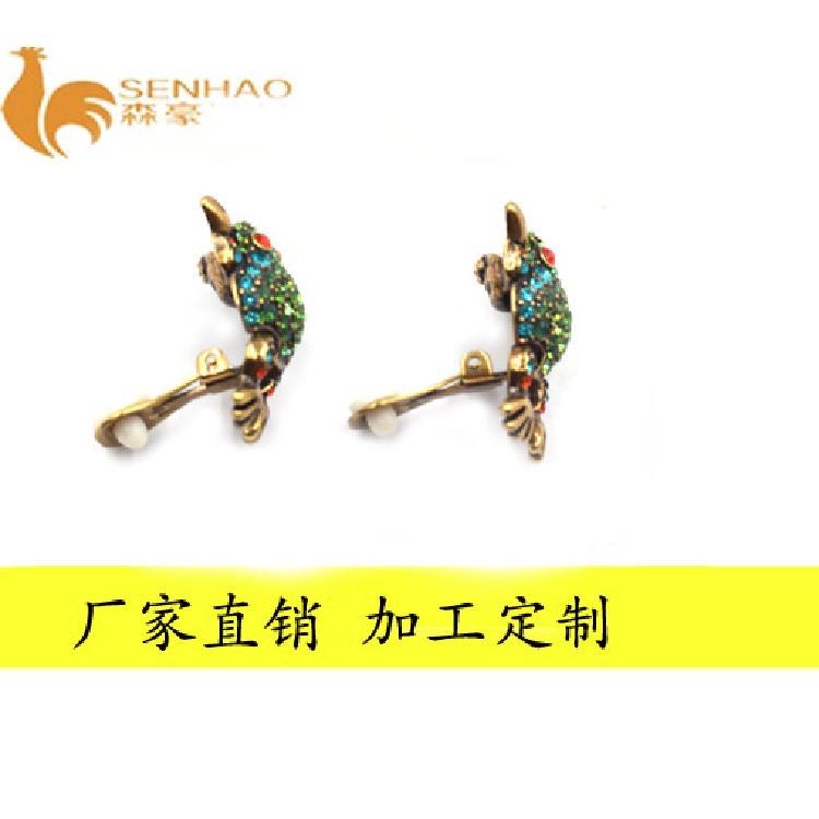 时尚个性满钻动物水钻耳环 活泼可爱彩色水钻耳饰 森豪厂家定制气质水钻耳环
