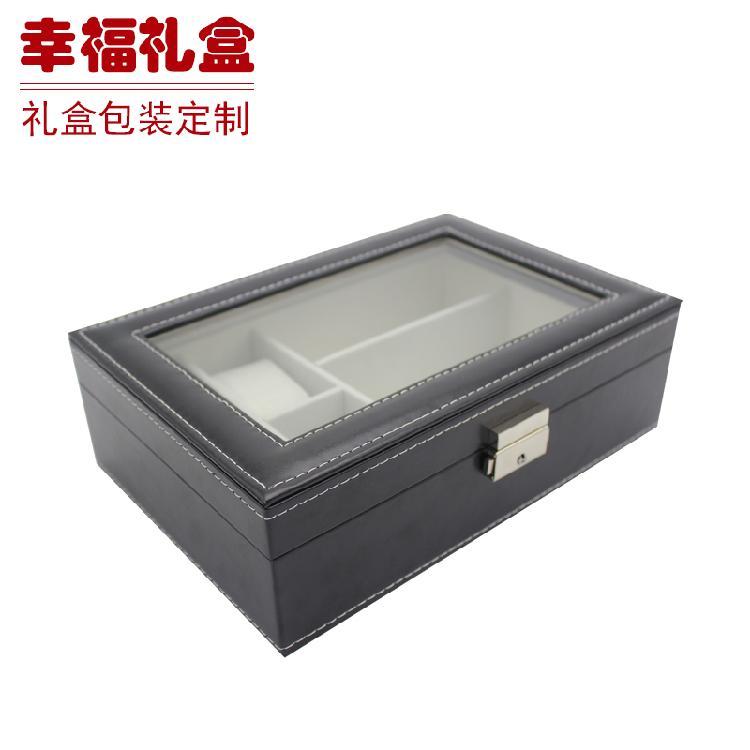 无锡黑色手表盒 皮盒 电子产品包装 皮革制品 首饰盒 保健品包装盒加工