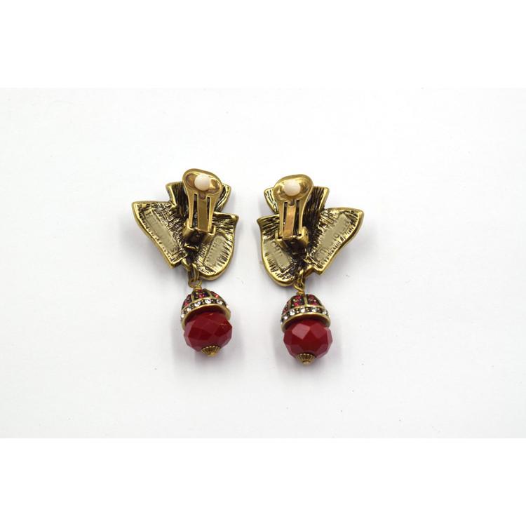 超仙花朵红色水晶耳环 气质网红时尚百搭甜美耳饰 森豪厂家定制潮流吊坠水晶耳环