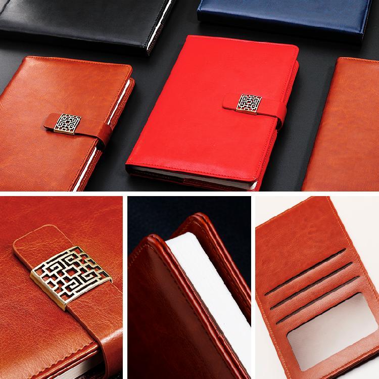 线装笔记本定制皮面带扣印字订做印logo印刷本子记事本文具会议记事本
