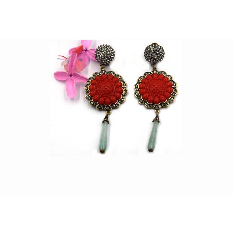 潮流新款时尚女式红色耳环  流苏长款中国风气质耳饰 森豪厂家定制精美流行红色耳环