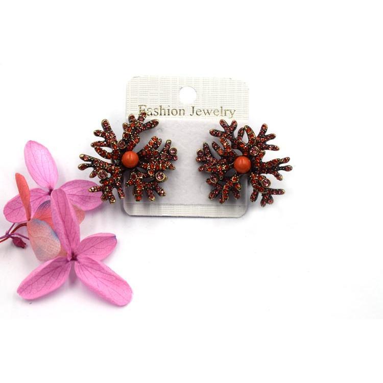 创意新款珊瑚耳钉 金属镶水晶女神超仙个性耳饰 森豪厂家定制时尚流行仿珊瑚耳钉